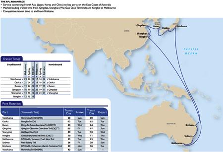 挂靠横滨港,大阪港,釜山港,青岛港,上海港,宁波港,墨尔本港,悉尼港和