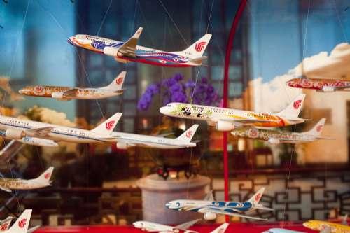 图为国航彩绘的飞机模型挂在举行