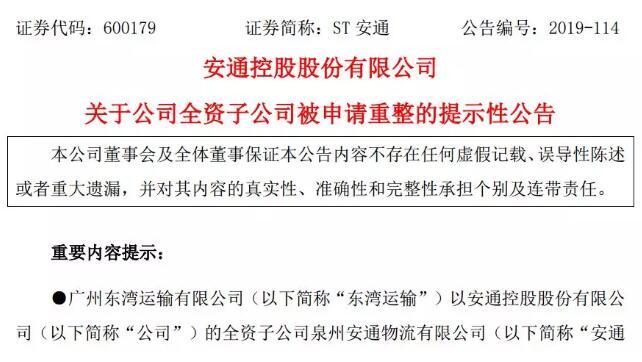 安通控股多家子公司被申请重组(附图)